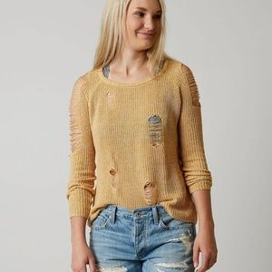 Buckle Gilded Intent mustard distressed sweater